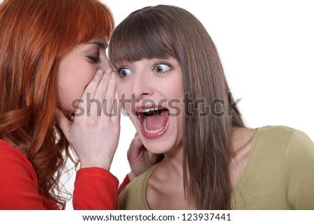 Women sharing a shocking secret - stock photo