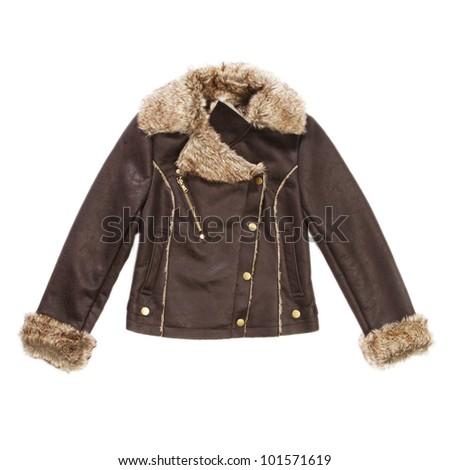 Women sheepskin jacket with fur on white - stock photo