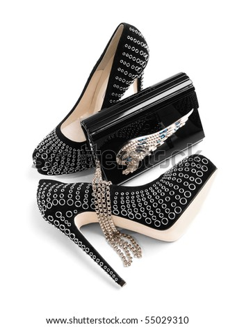 Women shoes with plastic clutch