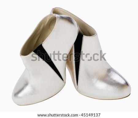 Women silver shoes - stock photo