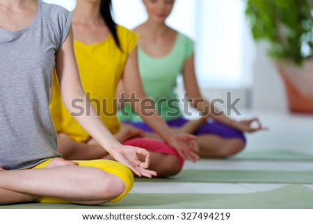 Women sit in yoga position in a row - stock photo