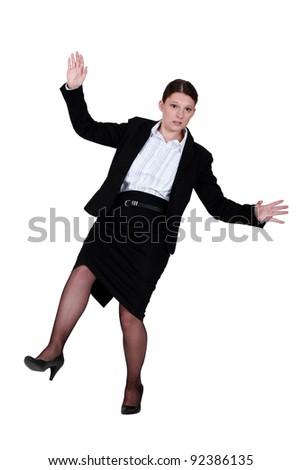 Women sliding - stock photo