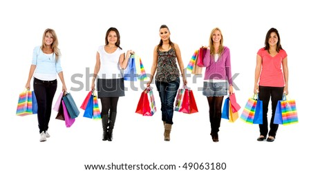 Women  standing with shopping bags - isolated over a white background - stock photo