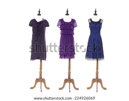 Women sundress on three dummy - full-length - stock photo