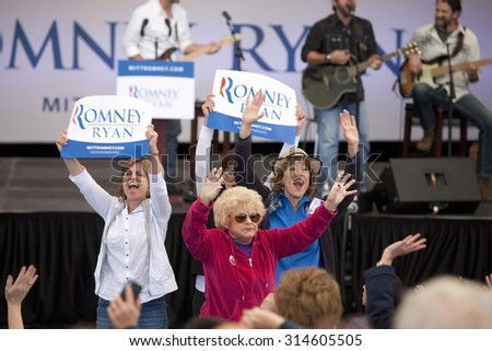 Women supporters for Governor Mitt Romney, the 2012 Republican Presidential Candidate, Presidential Campaign rally in Henderson, Nevada, Henderson Pavilion, October 23, 2012  - stock photo