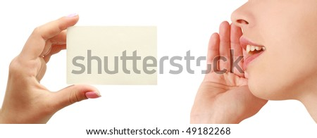 Women talking, business card in hand - stock photo