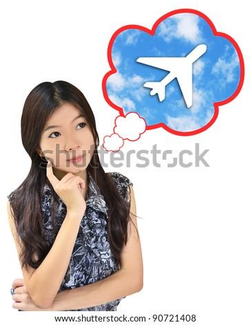 Women thinking about travel - stock photo