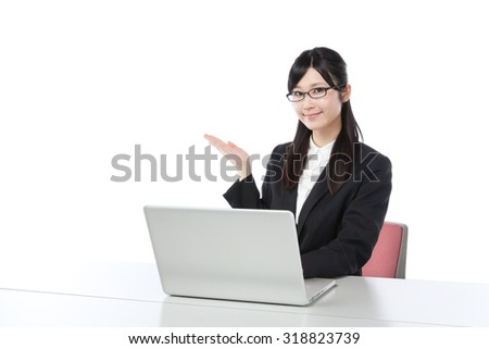 Women to work on a laptop , businesswoman, guide
