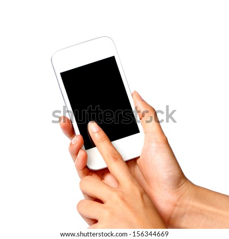 women Touching her mobile phone isolated on white background - stock photo