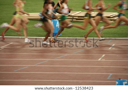 women track race from classic sports meeting in athens greece - stock photo
