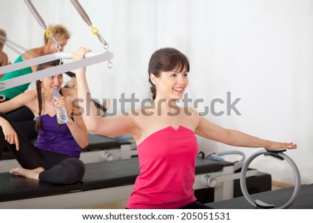 Women training in the gym