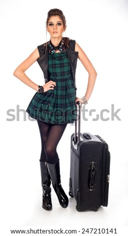 Women travel with bag on a white - stock photo