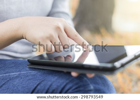 Women use tablet