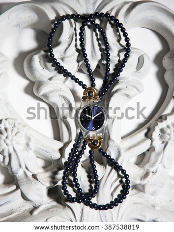women watch on a vintage composition - stock photo