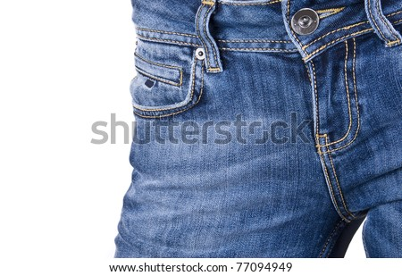 women wearing a pair of blue jeans against white background - stock photo