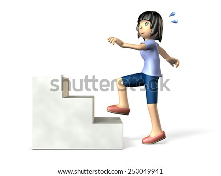 Women who exercise on the stairs. isolated. computer generated image. - stock photo