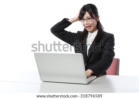 Women who work in the laptop , Businesswoman,hand on head