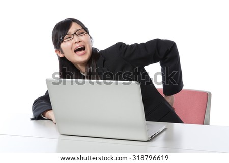 Women who work in the laptop , Businesswoman, low back pain