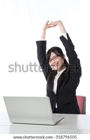 Women who work in the laptop , Businesswoman, stretch
