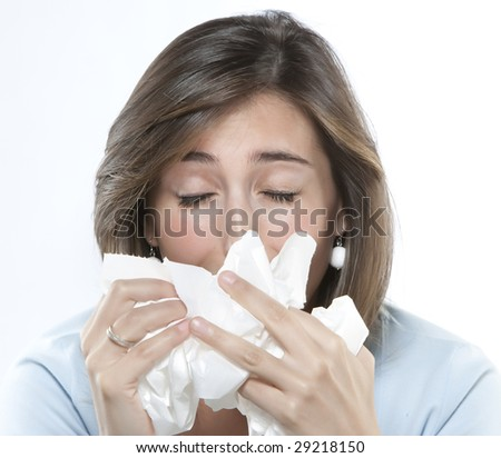 Women with allergies - stock photo