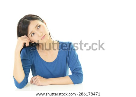 Women with an uneasy look - stock photo