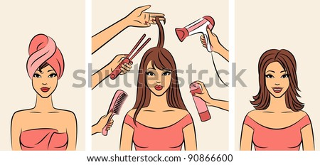 Women with coiffure in a beauty salon. - stock photo