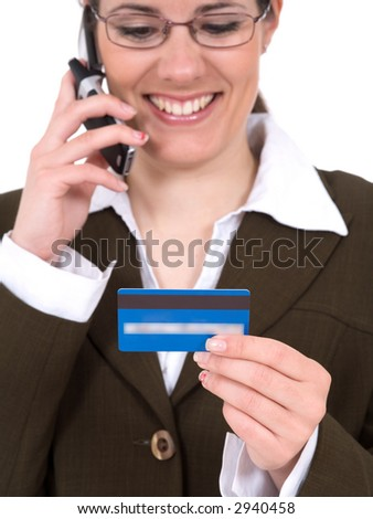 Women with credit card and mobile phone