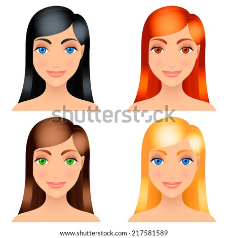 Women with different color of hair. - stock photo