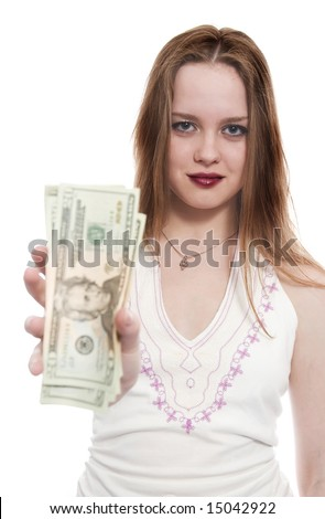 women with dollar bank notes in hand offer it to viewer. Focus on girl`s eyes