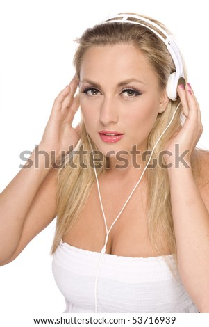 women with headphone isolated on white - stock photo