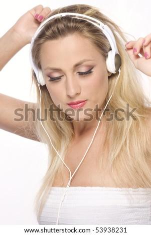 women with headphones - stock photo