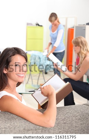 Women with household chores - stock photo