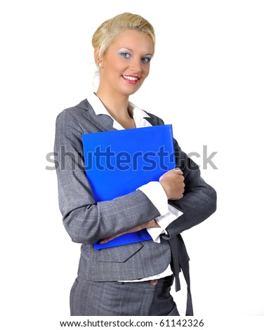 Women with notes and phone  in hands - stock photo