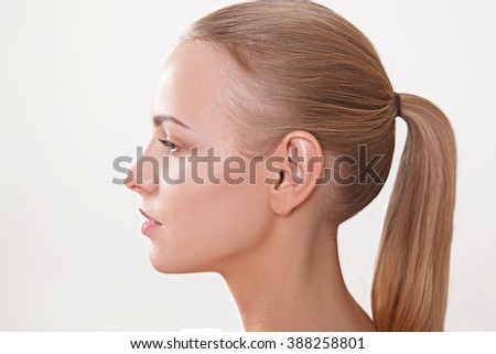 women with nude makeup. Hair style. Perfect skin - stock photo
