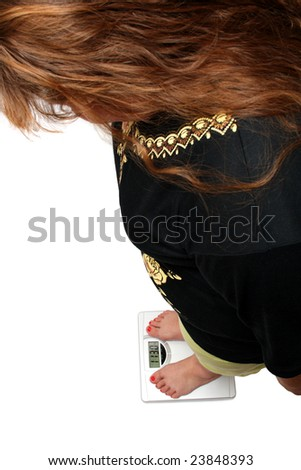 women with overweight looking on bathroom scales - stock photo