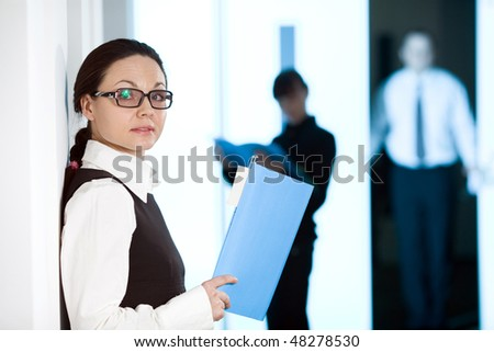 Women with paper - stock photo
