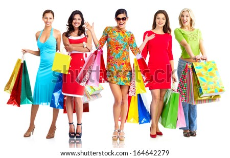 Women with shopping bags isolated over white background. - stock photo