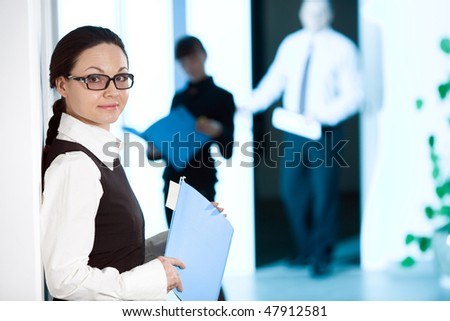 Women with smile with paper - stock photo