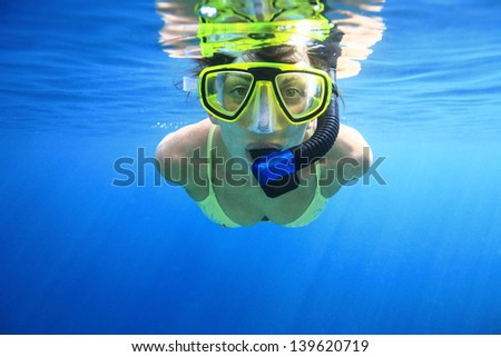 Women with snorkeling equipment in the blue sea - stock photo