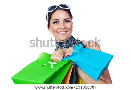 Women with surprise-shopping  bags ,isolated on white - stock photo