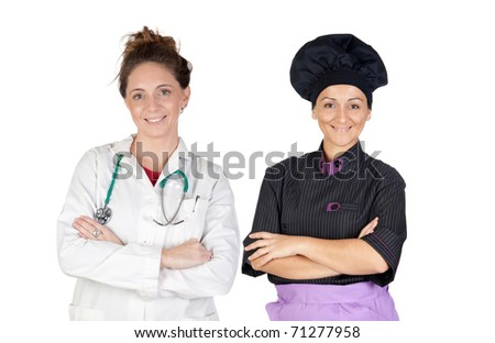 Women workers on a over a white background