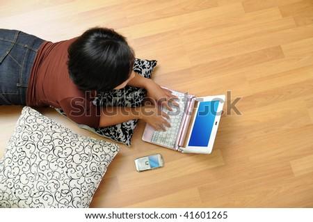 Women working on notebook - stock photo