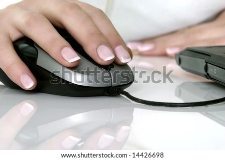 women working with computer - stock photo