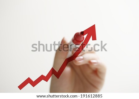 Women Write a graph - stock photo