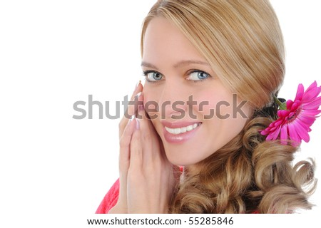 Womenl with a flower in her hair. Isolated on white background - stock photo