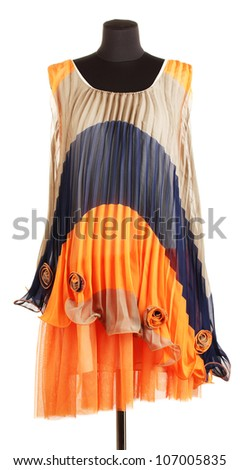 Womens beautiful dress on mannequin on white background - stock photo