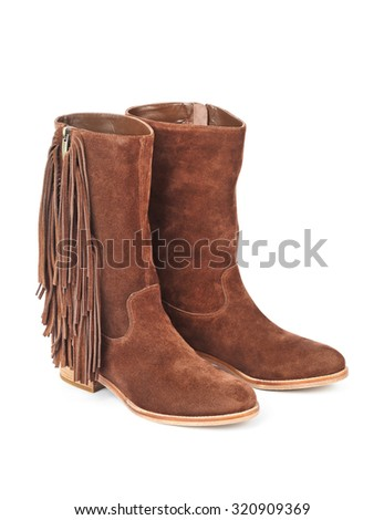 Womens boots isolated on white background - stock photo