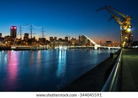 Womens bridge at night, Puerto Madero Buenos Aires Argentine - stock photo