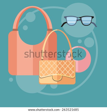 Womens fashion accessorie in flat design on stylish background. Raster version - stock photo