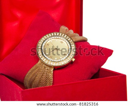 Womens Golden Watch In Red Box - stock photo